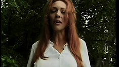 Simple housemaid turns to be sexy red-head harpy with lust to suck and fuck
