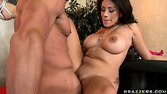 Sweet brunette Jamie Valentine getting her snatch slammed hard