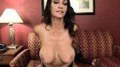 Curvaceous brunette cougar in sexy lingerie is a sucker for black cock