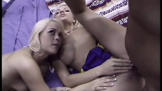 Two blonde cheerleaders in a threesome getting all their fuck holes nailed