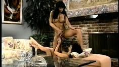 Beautiful lesbians enjoy a session of passionate lady loving