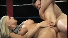 Wrestling blonde beauty gets roughed up by an aggressive dude