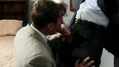 Hot mafia stud has a guy licking his balls and sucking his big shaft