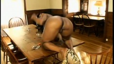 Black cougar Stacey Cash teases and taunts and gets a creamy vanilla load on her sexy feet