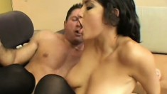 Fresh young beauty is hungry for cock and takes a big feeding