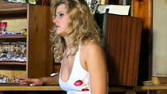 Busty blonde with a perfect ass seduces a black stud and he bangs her pussy deep