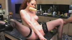 Creepy redhead gets fucked in the twat and ass with his cock and food