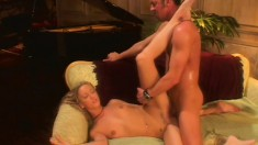 He buries his cock deep into Becca's mouth and slutty little cunt
