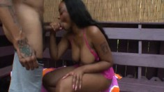 Voluptuous caramel beauty can't stop bouncing on that huge black cock