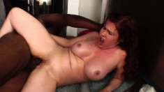 Naughty redheaded vixen wants a thick black bone in her twat