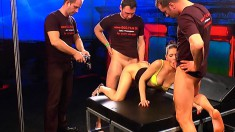 Trashy young babes getting fucked rough by a bunch of guys on camera