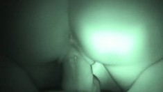 Amber gets filmed in night vision sucking his dick and then riding it