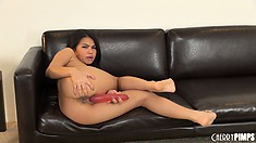 Cindy Starfall stuffs her dark holes with every object to hand