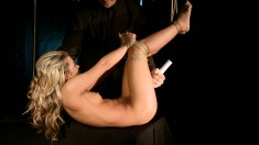 Pretty young blonde with a heavenly ass fulfills her bondage fantasy