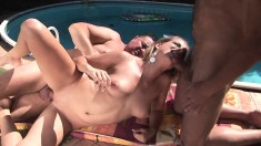 Two insatiable older dudes seduce and fuck a young girl poolside