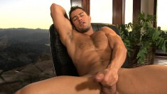Cody's hands slowly but steady bring his long pole to intense pleasure