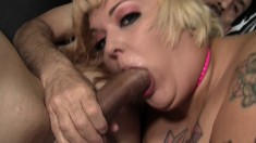 Tattooed plumper relishes every thrust of dick in her hungry peach