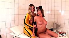 Kinky lesbian babes in an intense cosplay sex scene based on Kill Bill movie