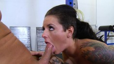 Busty brunette goes for her trainer's cock and gets humped hard