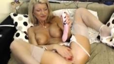 Horny asian MILF toying both holes on webcam