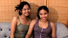 Two Asian teens and a lucky cock