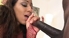 Busty black babe sucks his cock and gets her other holes filled