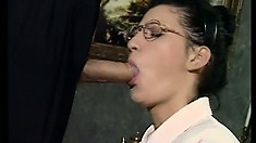 Ursula Moore gives Miker Foster a BJ before taking it in the ass