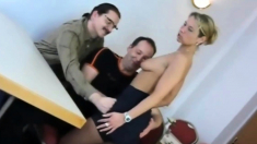 Alluring blonde milf in stockings gets drilled by two guys