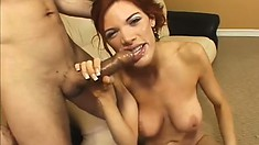Fascinating redhead with big tits needs to get her fiery twat drilled hard and deep