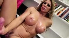 Big-titted blonde secretary jerking a hard wang
