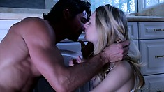 He's a horny father figure and she's a cute young blonde so they make out