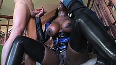 Irresistible black girl with big boobs and a sublime ass Coco enjoys two white cocks