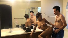 Ebony honey Diamond takes his white cock in the bathroom and the bed