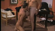 Two excited strong guys indulge in some balls deep assfucking
