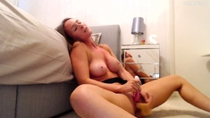 Blonde With Natural Big Boobs Loves Putting A Toy In Her